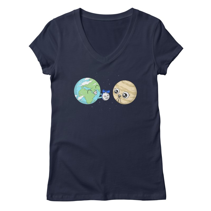 I'd Give You The Moon Women's Regular V-Neck by spookylili
