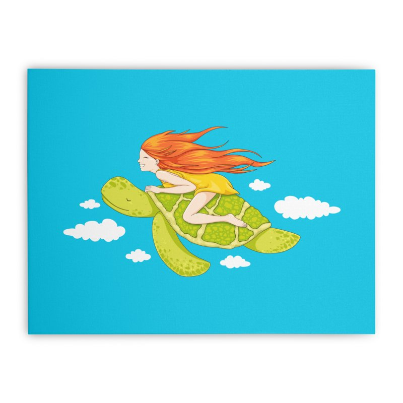 The Flying Turtle Home Stretched Canvas by spookylili