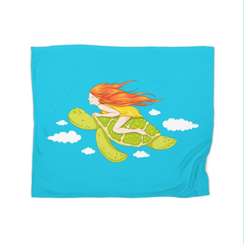The Flying Turtle Home Fleece Blanket Blanket by spookylili