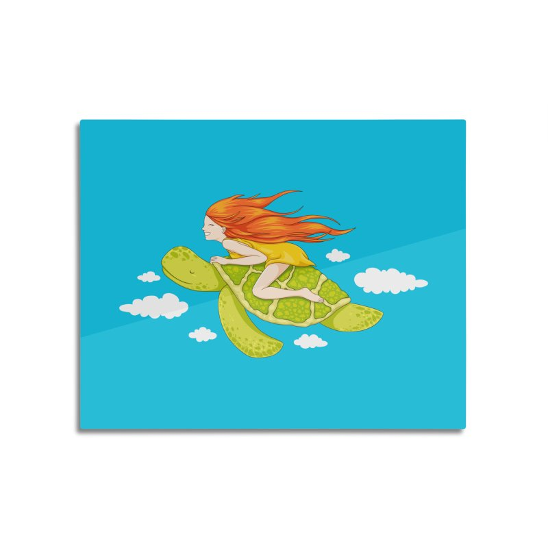 The Flying Turtle Home Mounted Aluminum Print by spookylili