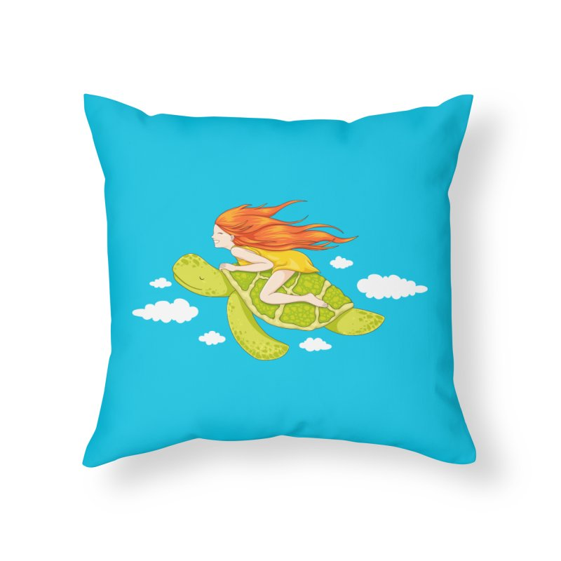 The Flying Turtle Home Throw Pillow by spookylili