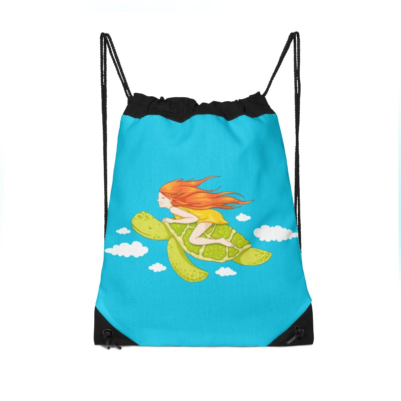 The Flying Turtle Accessories Drawstring Bag Bag by spookylili