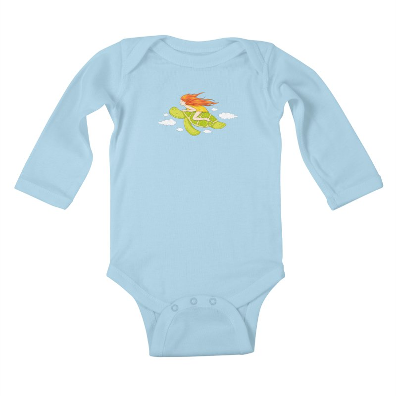 The Flying Turtle Kids Baby Longsleeve Bodysuit by spookylili