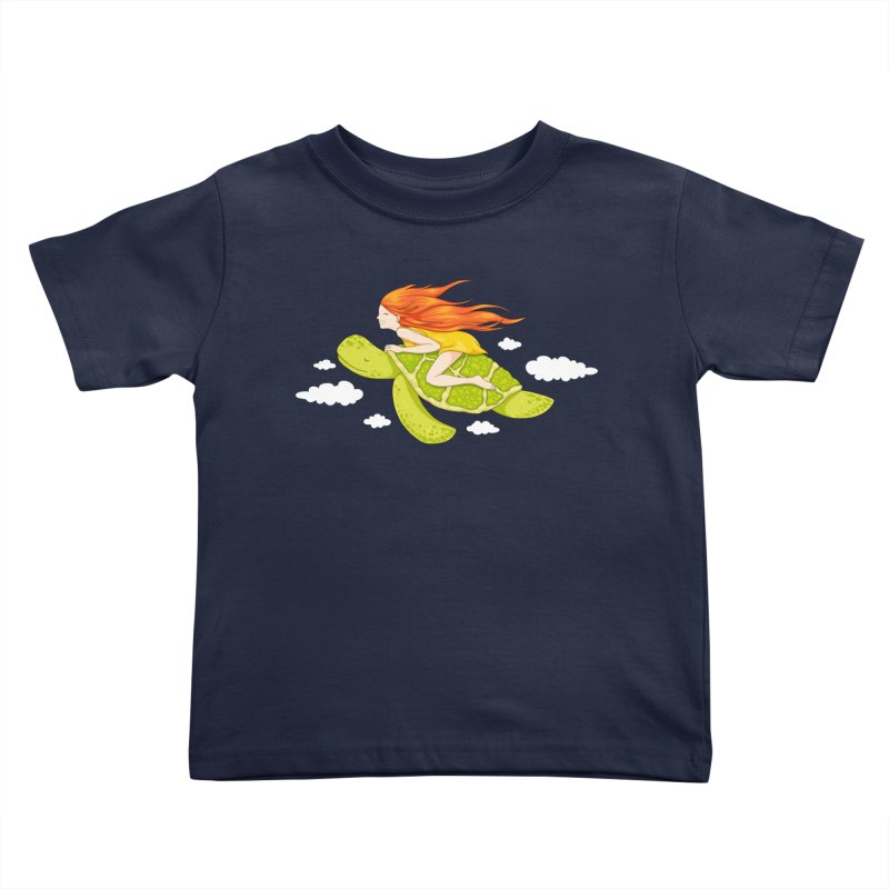 The Flying Turtle Kids Toddler T-Shirt by spookylili