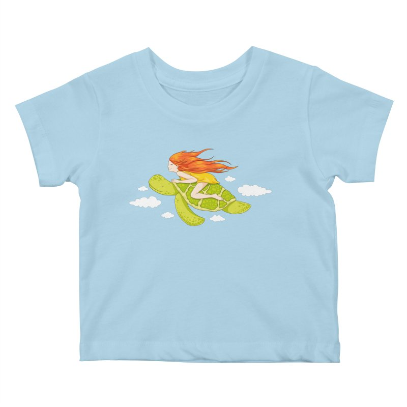 The Flying Turtle Kids Baby T-Shirt by spookylili
