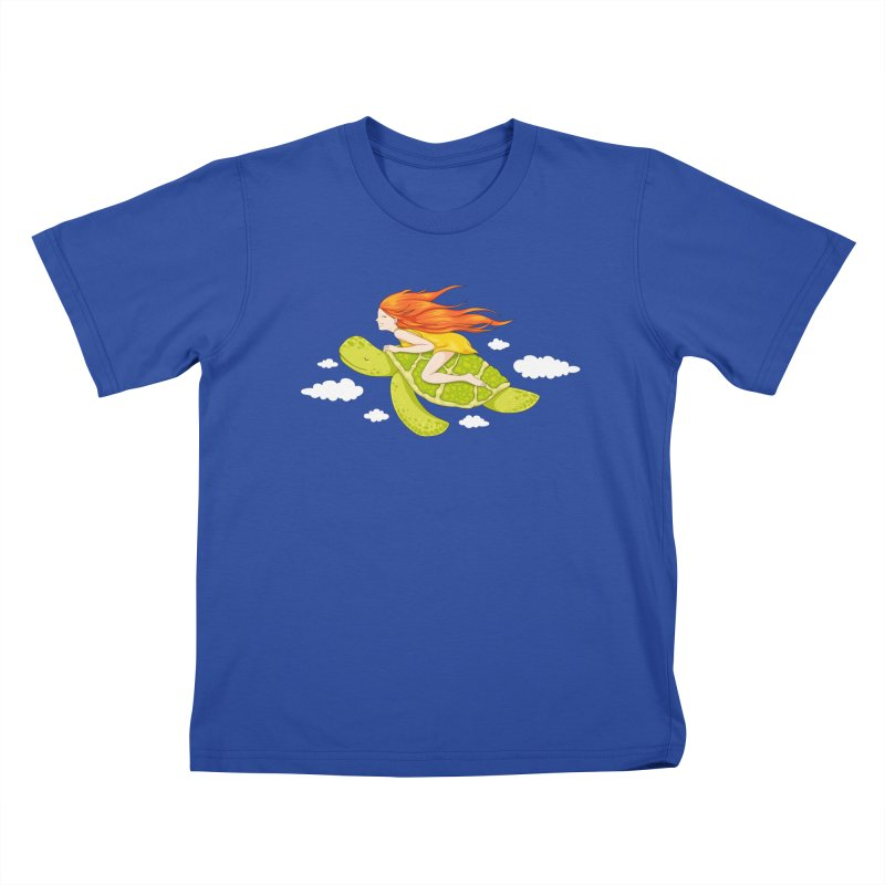 The Flying Turtle Kids T-Shirt by spookylili