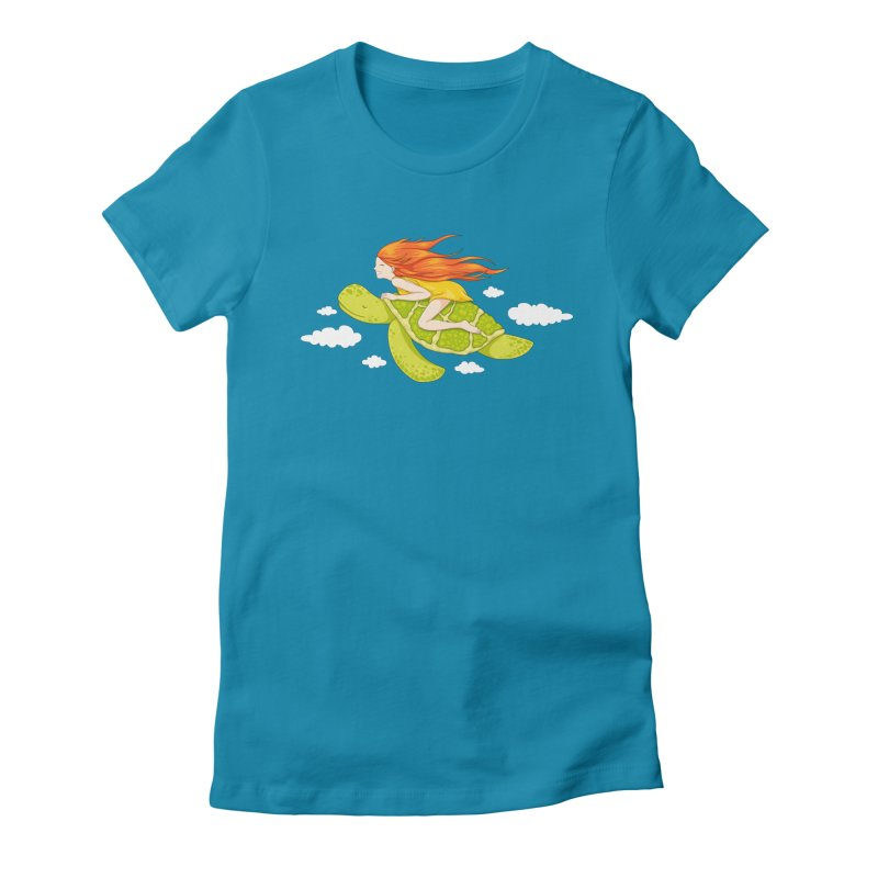 The Flying Turtle Women's Fitted T-Shirt by spookylili