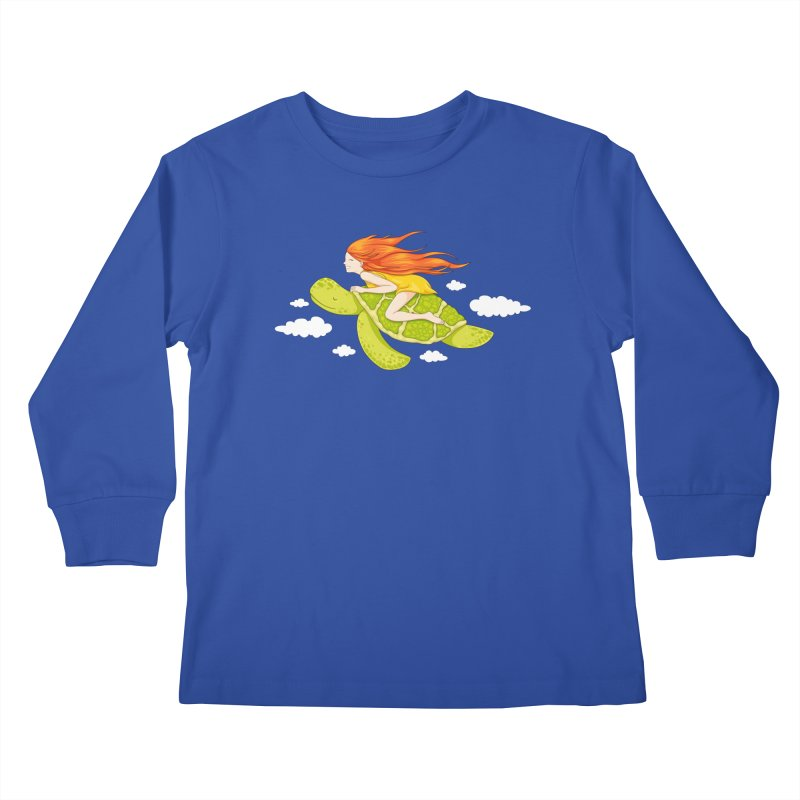 The Flying Turtle Kids Longsleeve T-Shirt by spookylili