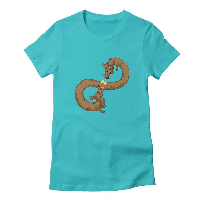 Dachshund Dilemma Women's Fitted T-Shirt by Sporecloud - Stuff by Jeff Bent