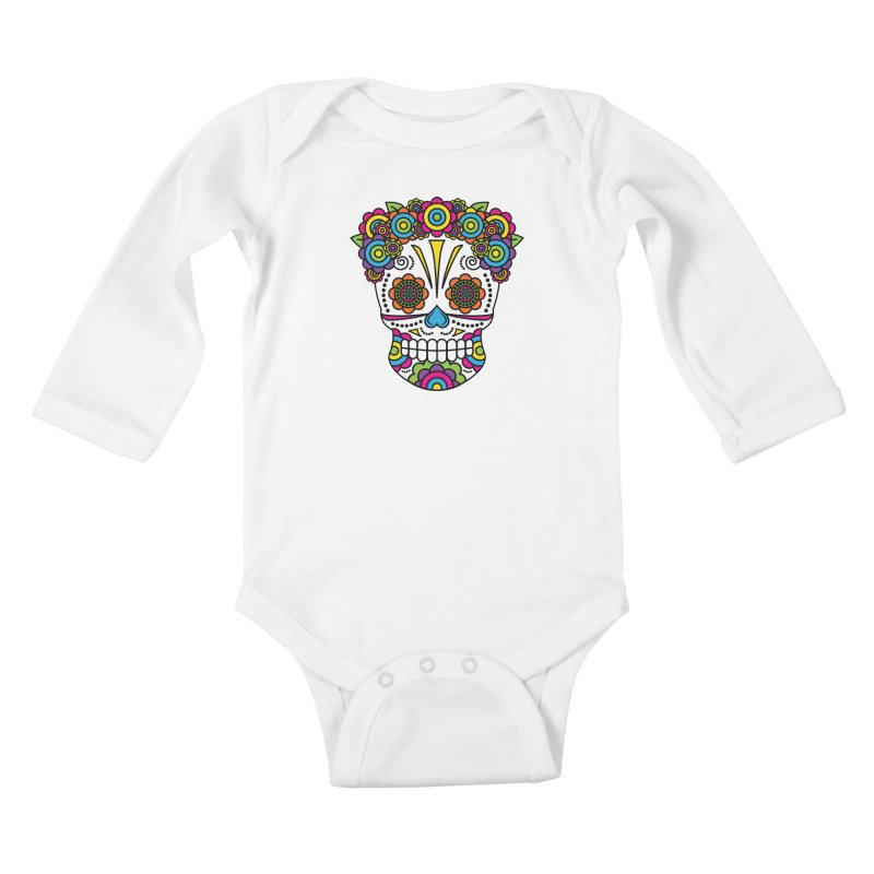 Lady Sugar Skull Kids Baby Longsleeve Bodysuit by Spot Colors's Artist Shop