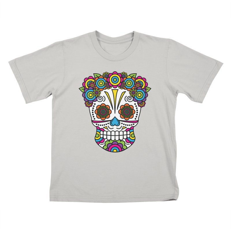 Lady Sugar Skull Kids T-Shirt by Spot Colors's Artist Shop