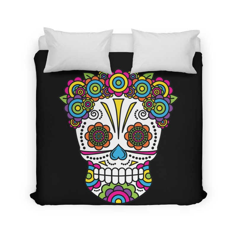 Lady Sugar Skull Home Duvet by Spot Colors's Artist Shop