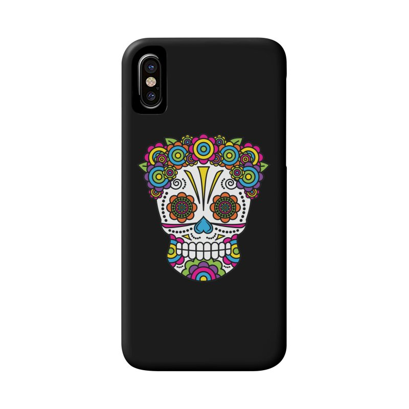 Lady Sugar Skull Accessories Phone Case by Spot Colors's Artist Shop