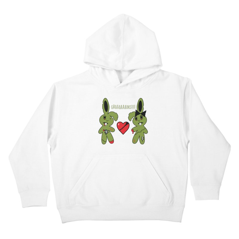 Zombunnies Love Graaaaaaains! Kids Pullover Hoody by Spot Colors's Artist Shop