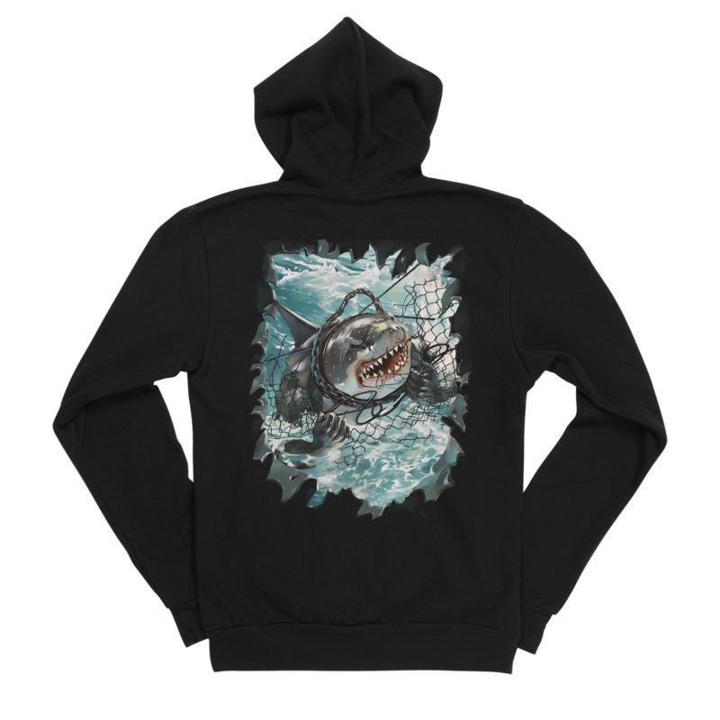 SHARK BAIT Men's Sponge Fleece Zip-Up Hoody by SPYKEEE's Artist Shop