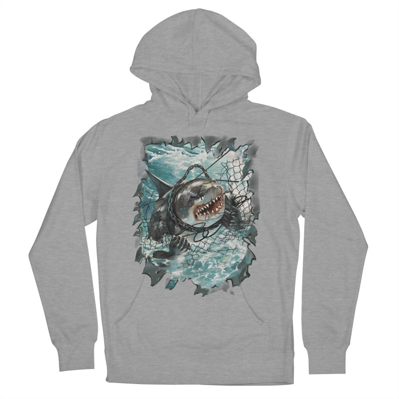 SHARK BAIT Men's French Terry Pullover Hoody by SPYKEEE's Artist Shop