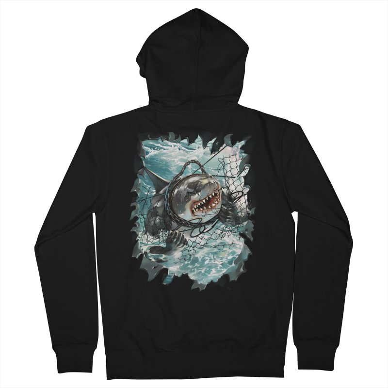 SHARK BAIT Men's French Terry Zip-Up Hoody by SPYKEEE's Artist Shop