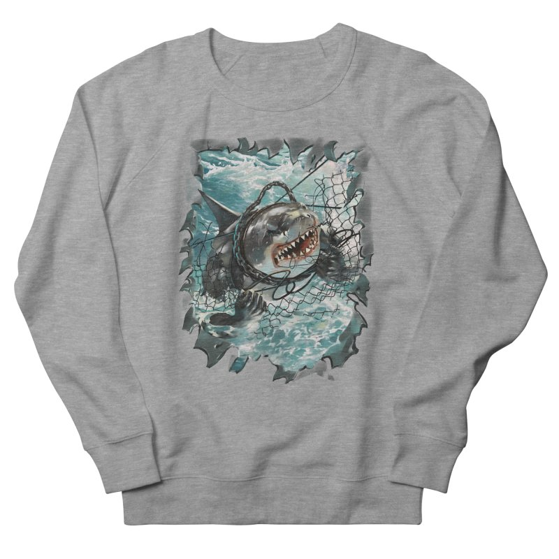 SHARK BAIT Men's French Terry Sweatshirt by SPYKEEE's Artist Shop