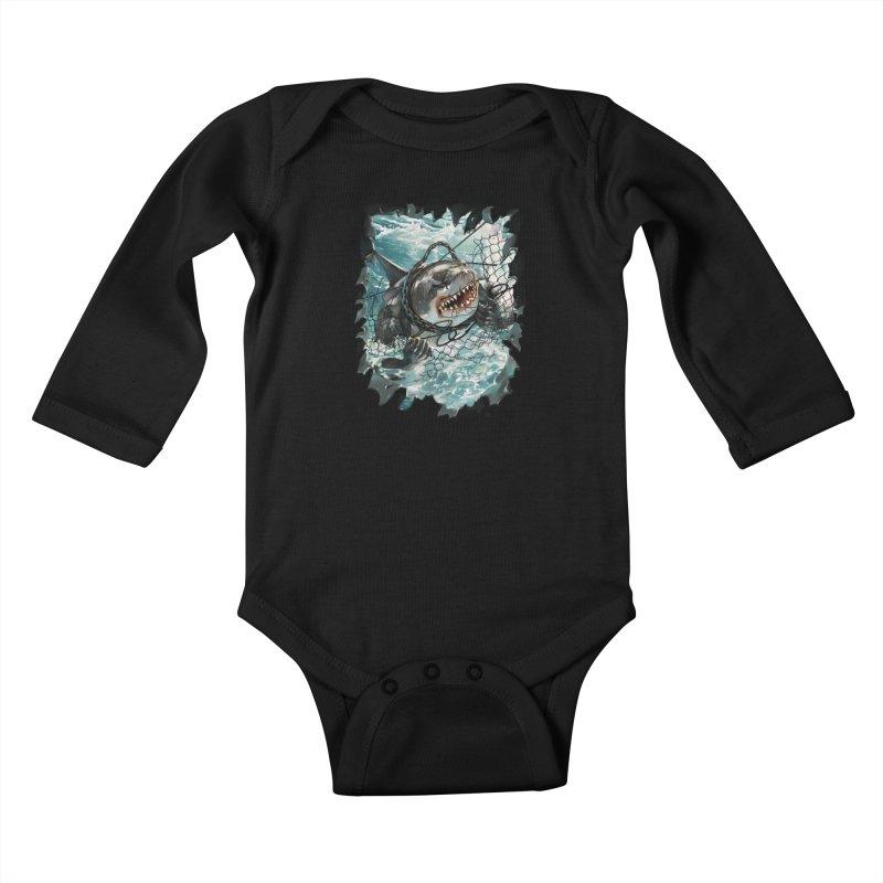 SHARK BAIT Kids Baby Longsleeve Bodysuit by SPYKEEE's Artist Shop