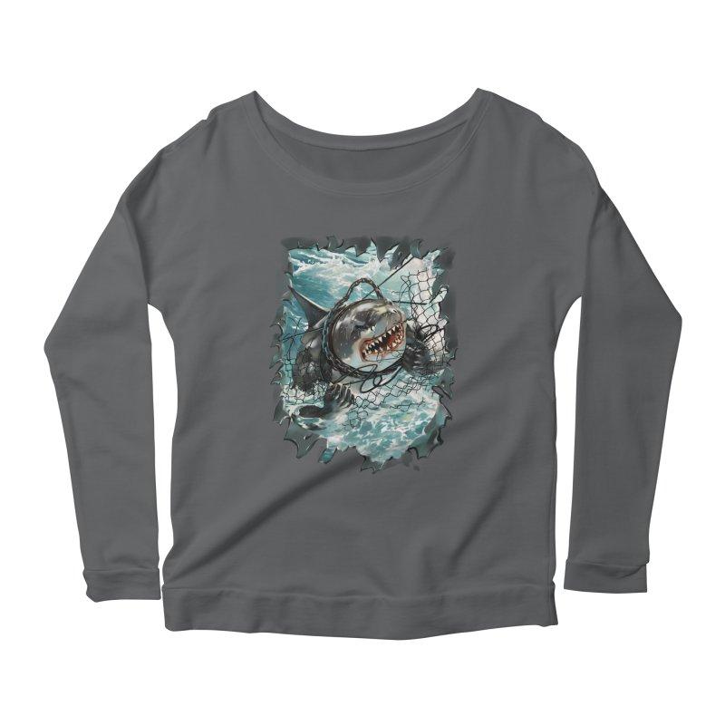 SHARK BAIT Women's Scoop Neck Longsleeve T-Shirt by SPYKEEE's Artist Shop