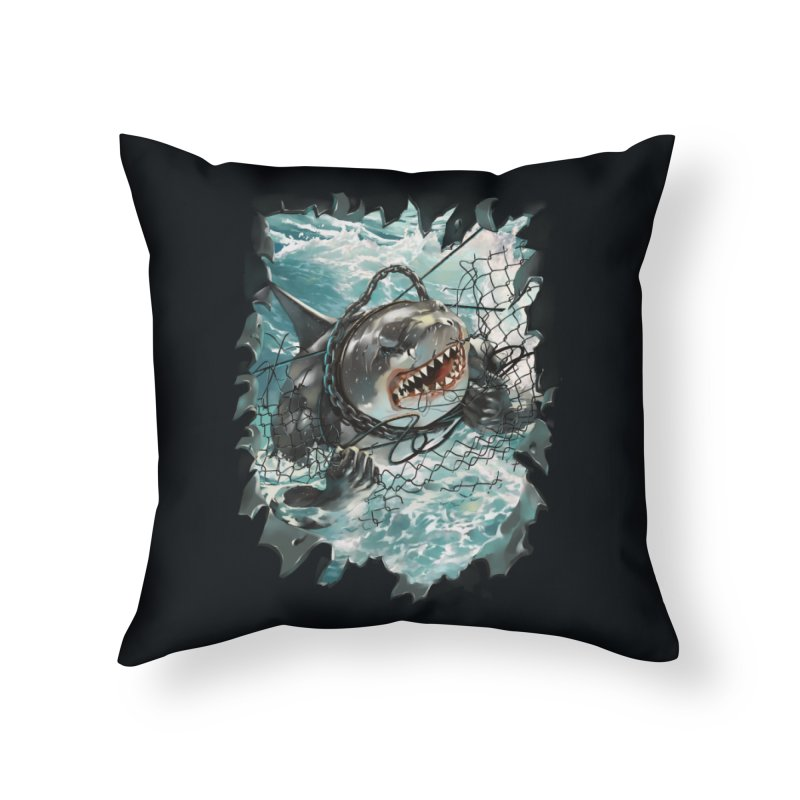 SHARK BAIT Home Throw Pillow by SPYKEEE's Artist Shop