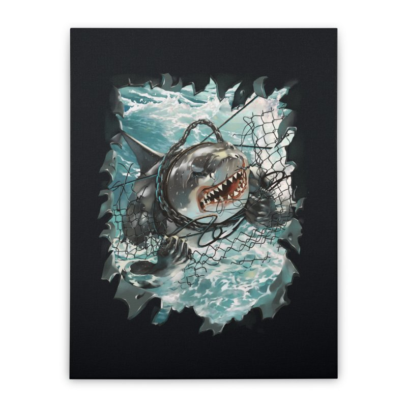 SHARK BAIT Home Stretched Canvas by SPYKEEE's Artist Shop