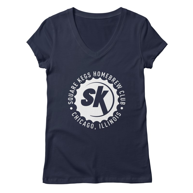Square Kegs Shirt in Women's Regular V-Neck Navy by squarekegs's Shop