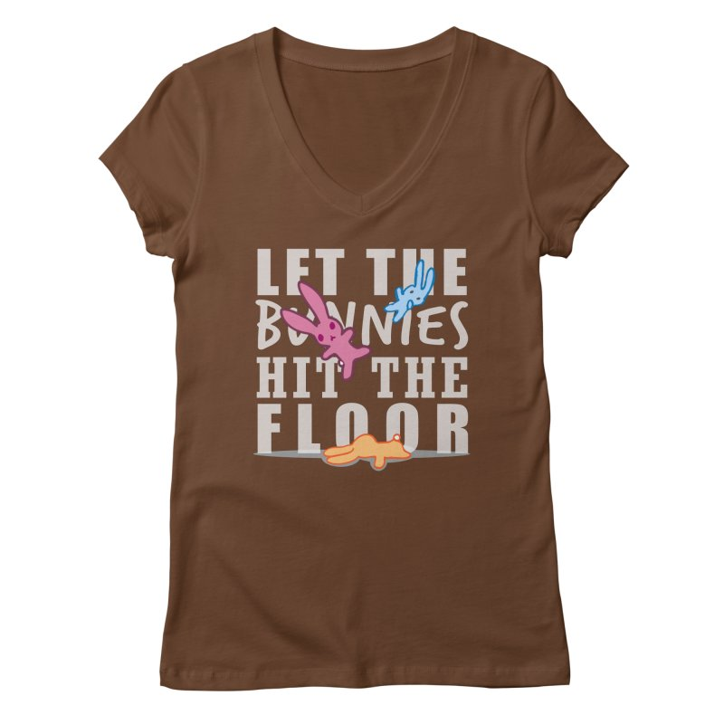 let the bunnies hit the floor Women's V-Neck by shutter shades facemask