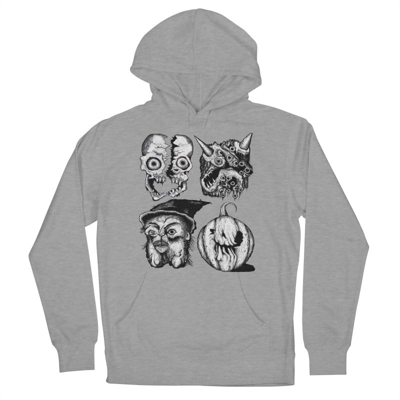 Halloween Heads Women's French Terry Pullover Hoody by stampedepress's Artist Shop