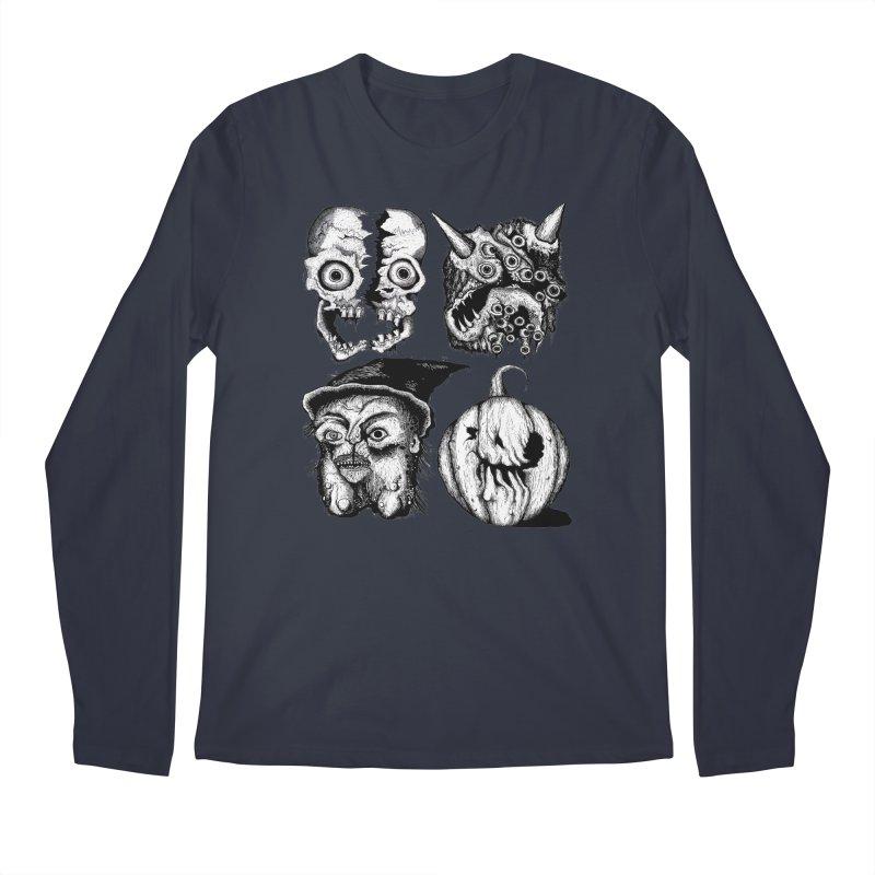 Halloween Heads Men's Regular Longsleeve T-Shirt by stampedepress's Artist Shop