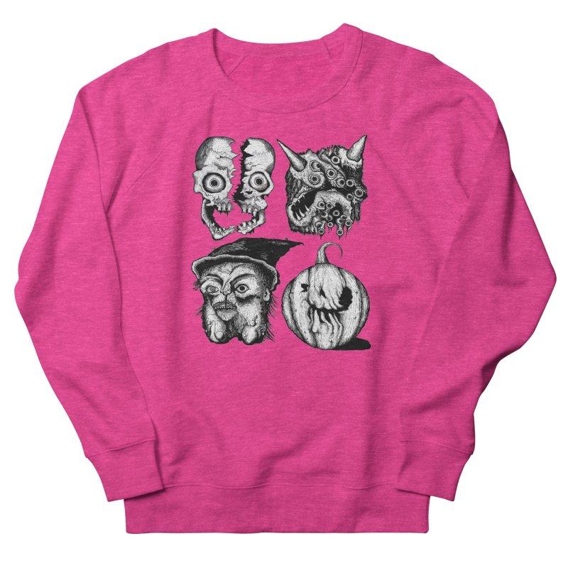 Halloween Heads Women's French Terry Sweatshirt by stampedepress's Artist Shop