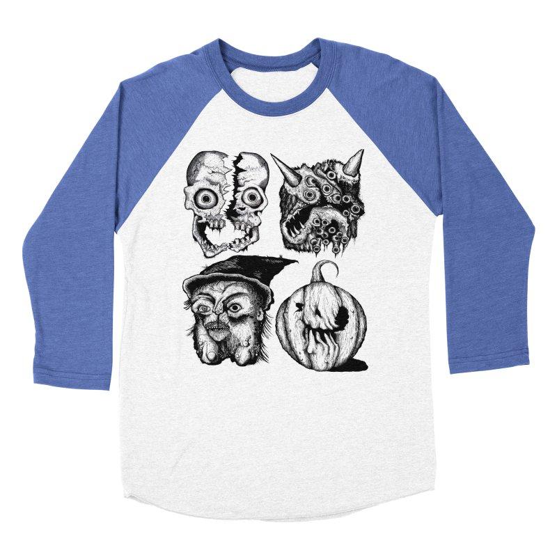 Halloween Heads Women's Baseball Triblend Longsleeve T-Shirt by stampedepress's Artist Shop
