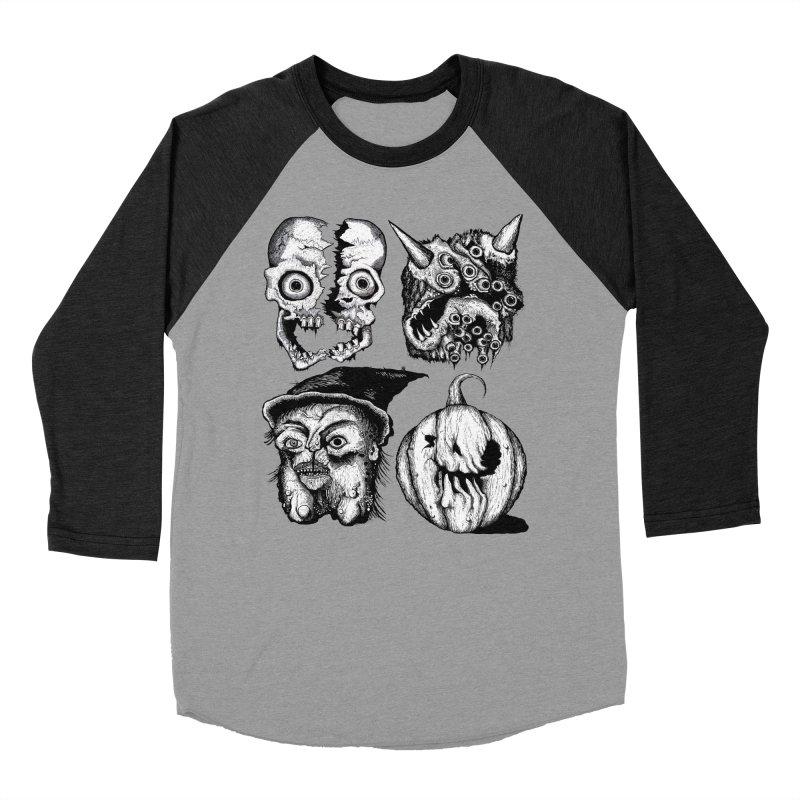 Halloween Heads Women's Baseball Triblend T-Shirt by stampedepress's Artist Shop