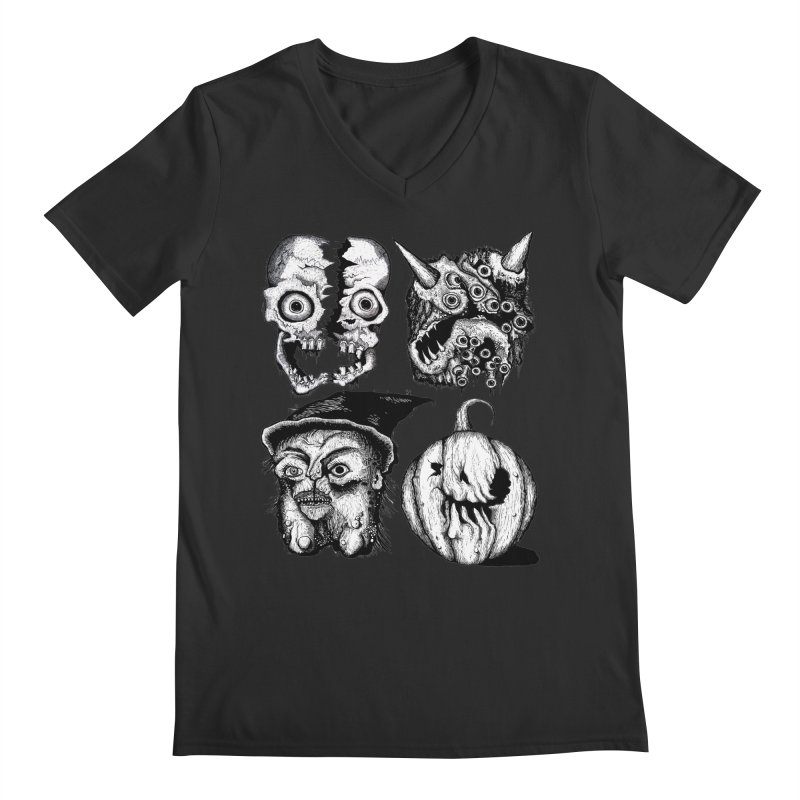 Halloween Heads Men's V-Neck by stampedepress's Artist Shop