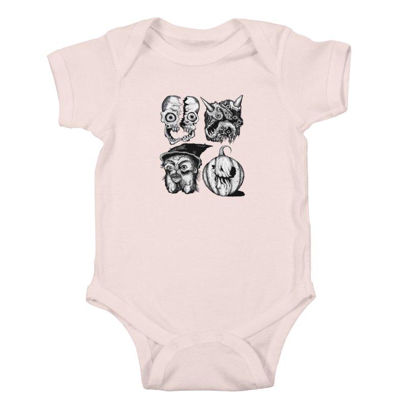 Halloween Heads Kids Baby Bodysuit by stampedepress's Artist Shop