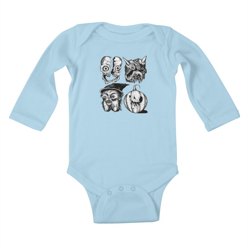 Halloween Heads Kids Baby Longsleeve Bodysuit by stampedepress's Artist Shop