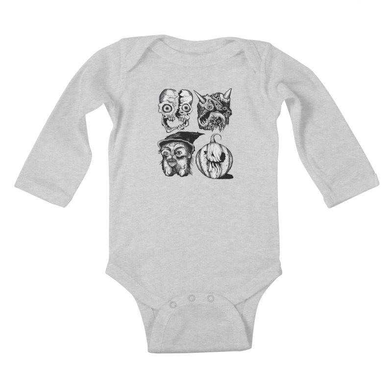 Halloween Heads Kids Baby Longsleeve Bodysuit by stampedepress's Artist Shop