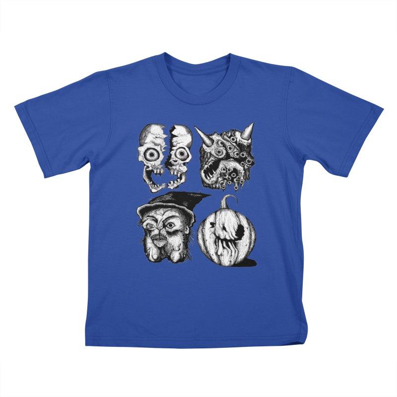 Halloween Heads Kids T-Shirt by stampedepress's Artist Shop