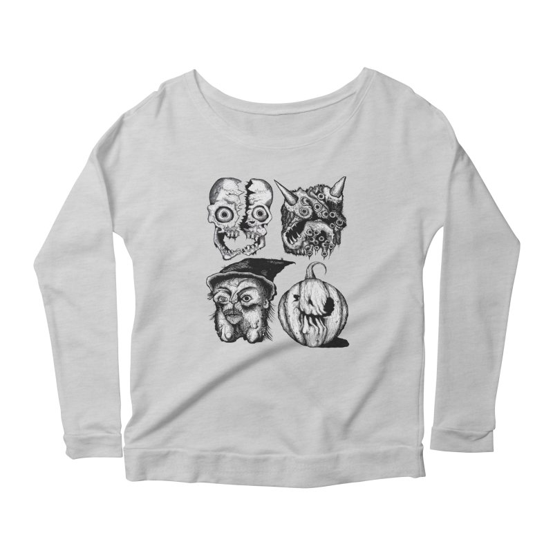 Halloween Heads Women's Longsleeve Scoopneck  by stampedepress's Artist Shop