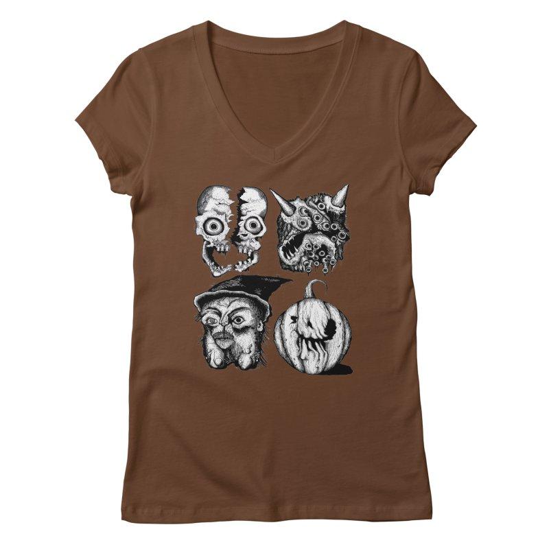 Halloween Heads Women's V-Neck by stampedepress's Artist Shop