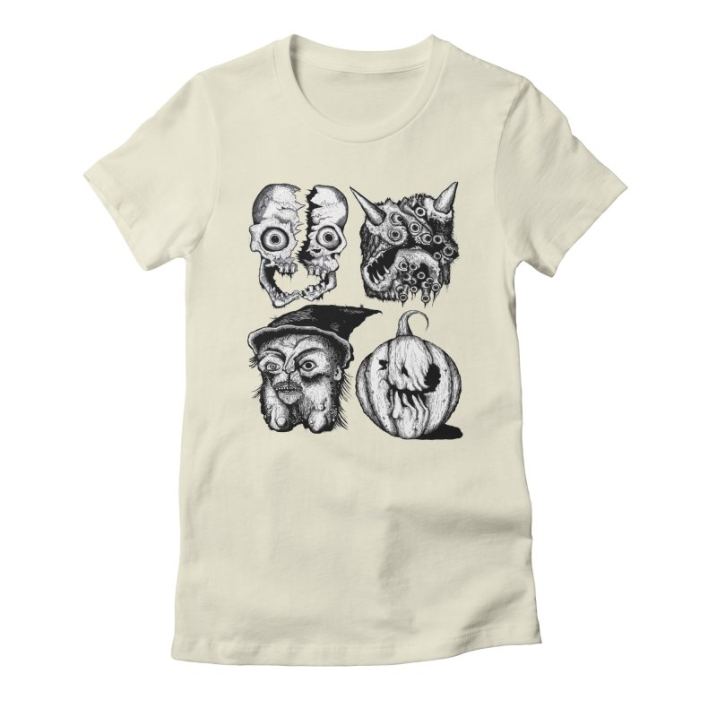 Halloween Heads Women's Fitted T-Shirt by stampedepress's Artist Shop