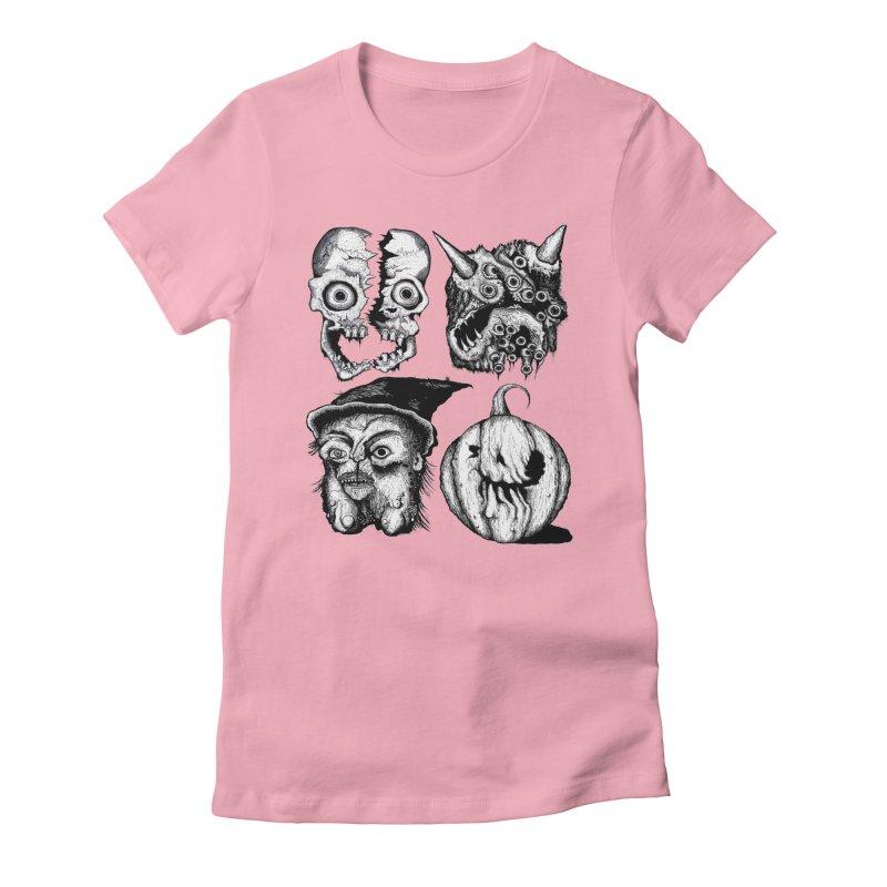 Halloween Heads Women's Fitted T-Shirt by stampedepress's Artist Shop