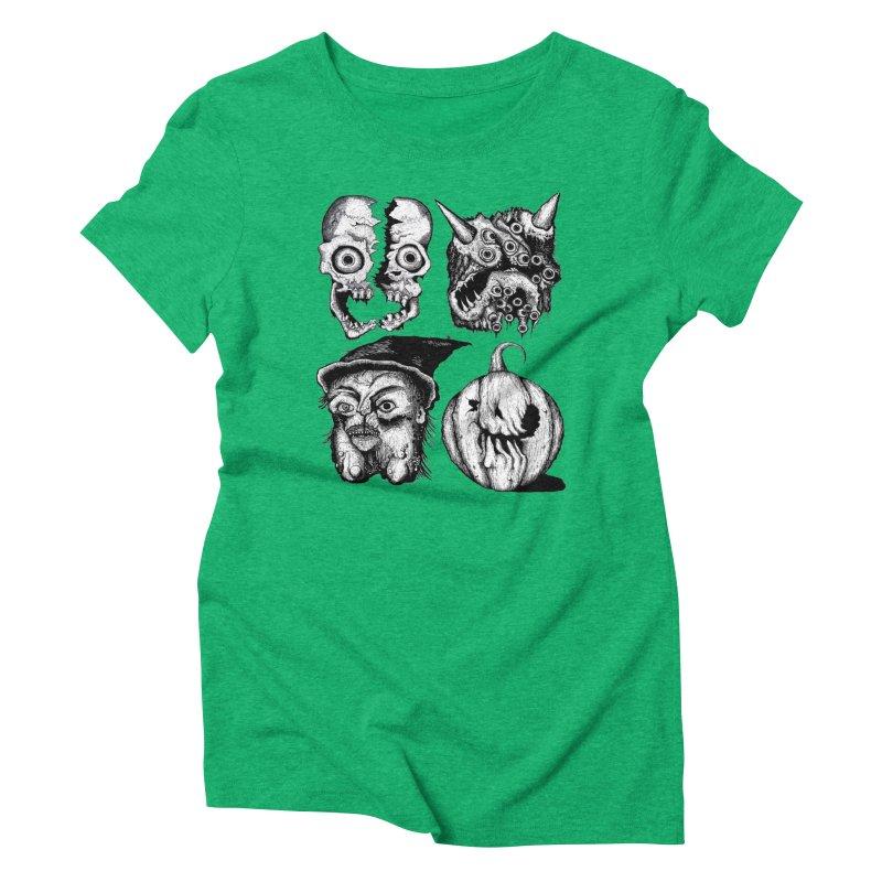 Halloween Heads Women's Triblend T-Shirt by stampedepress's Artist Shop