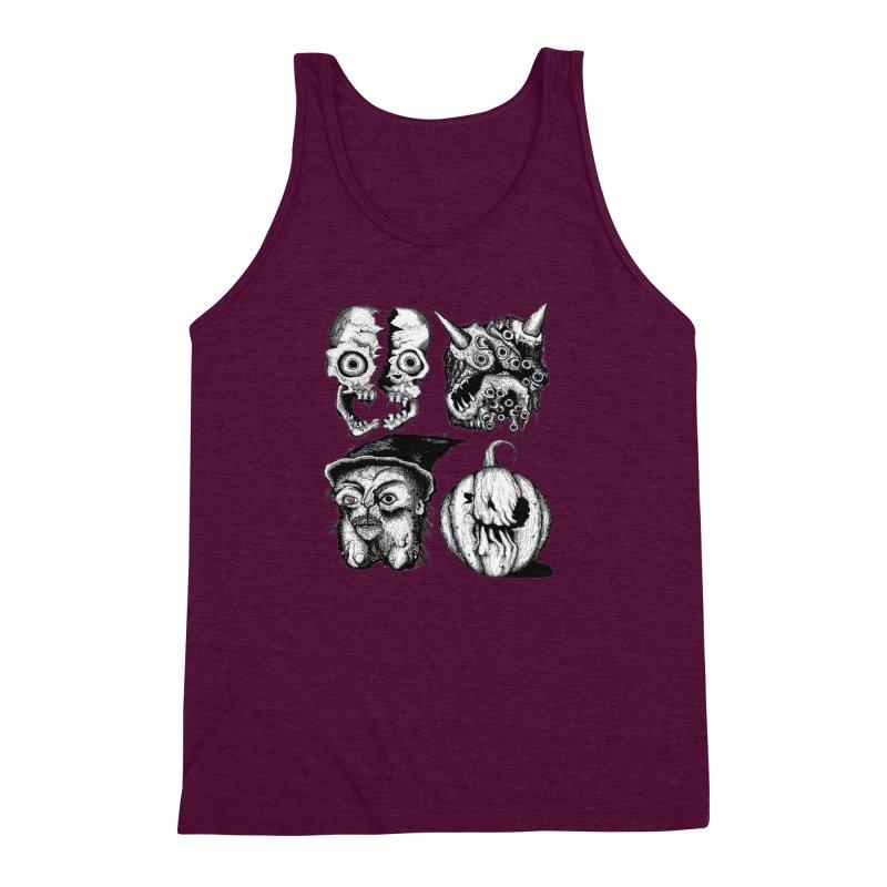 Halloween Heads Men's Triblend Tank by stampedepress's Artist Shop