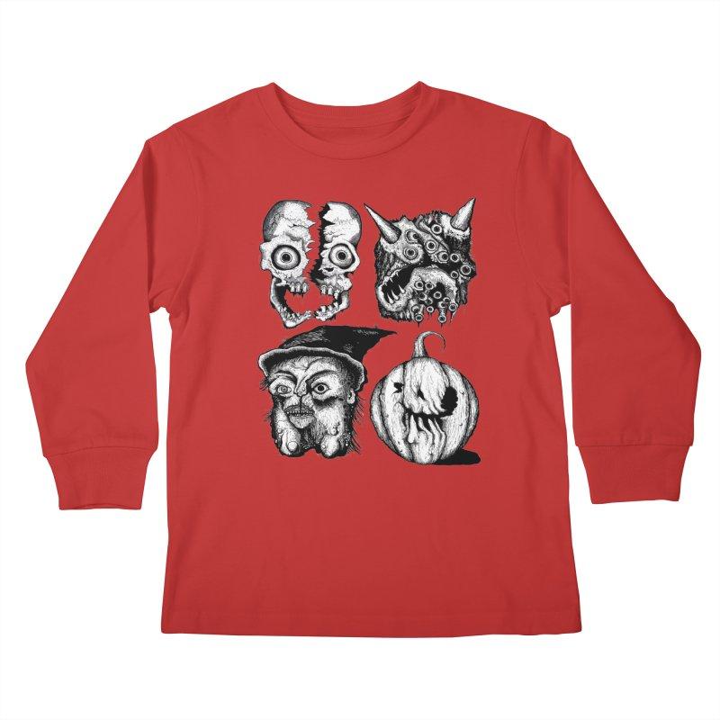 Halloween Heads Kids Longsleeve T-Shirt by stampedepress's Artist Shop