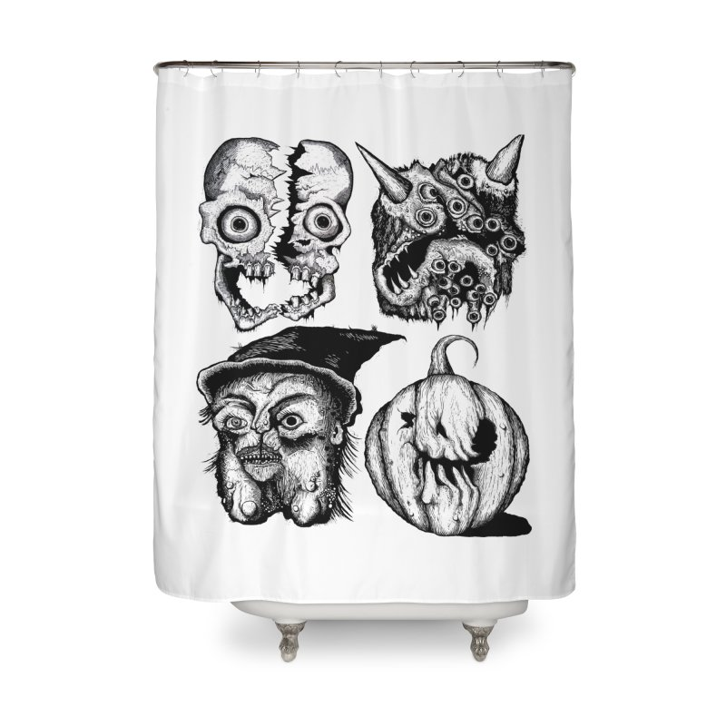 Halloween Heads Home Shower Curtain by stampedepress's Artist Shop