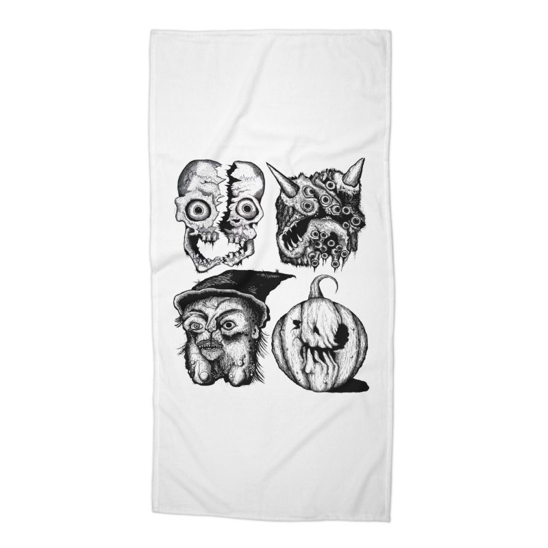 Halloween Heads Accessories Beach Towel by stampedepress's Artist Shop