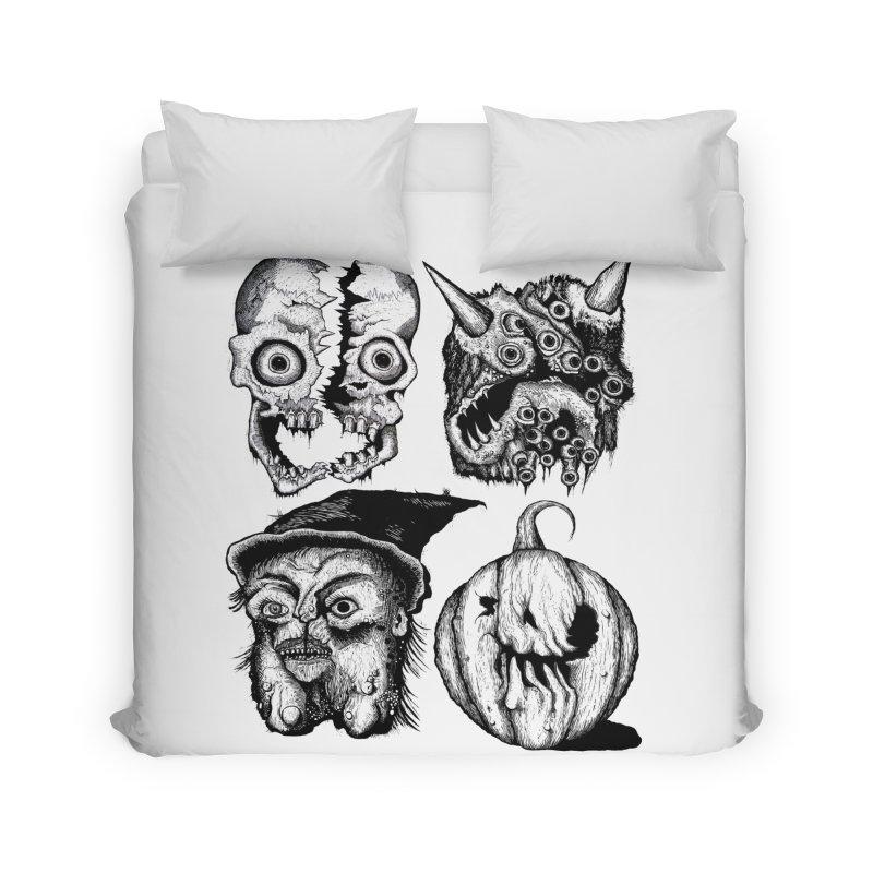 Halloween Heads Home Duvet by stampedepress's Artist Shop