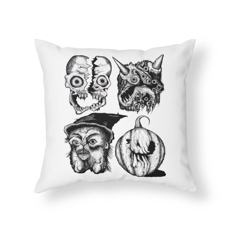 Halloween Heads Home Throw Pillow by stampedepress's Artist Shop