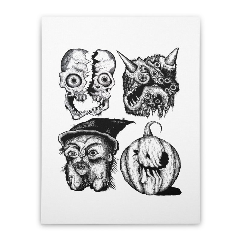 Halloween Heads Home Stretched Canvas by stampedepress's Artist Shop